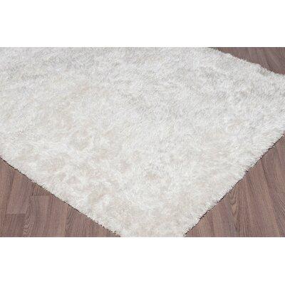 Emerie Super Soft Plush Shag Hand Woven White Area Rug Rug Size: Rectangle 8 x 10