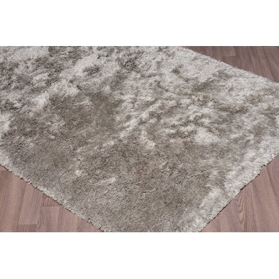 Salma Super Soft Plush Shag Hand Woven Silver/Gray Area Rug Rug Size: Rectangle 8 x 10