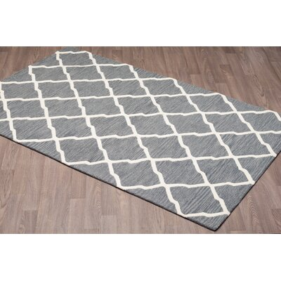 Lira Trellis Hand Tufted Wool Ivory/Gray Area Rug Rug Size: Rectangle 8 x 10