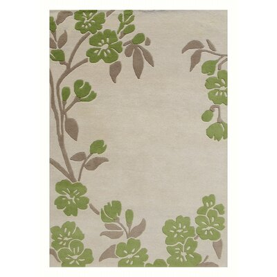 Pinkney Floral Hand Tufted Wool Ivory/Green Area Rug Rug Size: Rectangle 5 x 8
