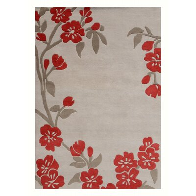 Pinkston Floral Hand Tufted Wool Ivory/Red Area Rug Rug Size: Rectangle 76 x 96