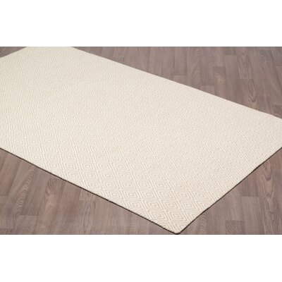 Little Italy Diamond Reversible Hand Woven Wool Ivory/Beige Area Rug Rug Size: Rectangle 8 x 10