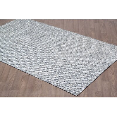 Litva Diamond Reversible Hand Woven Wool Ivory/Navy Area Rug Rug Size: Rectangle 8 x 10