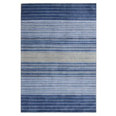 Nathans Stripe Hand Woven Wool Blue Area Rug Rug Size: Rectangle 5 x 8