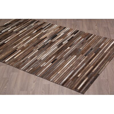 Chantae Stripe Hand Woven Cowhide Chocolate Area Rug Rug Size: Rectangle 8 x 10