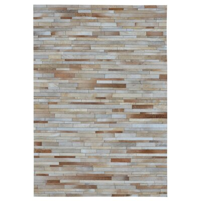 Chantalle Stripes Hand Woven Cowhide Tan Area Rug Rug Size: Rectangle 8 x 10