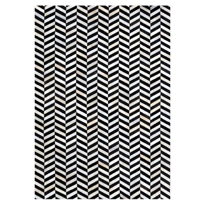 Chantay Chevron Hand Woven Cowhide Black/Ivory Area Rug Rug Size: Rectangle 8 x 10