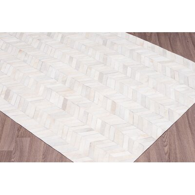 Chappel Chevron Hand Woven Cowhide White Area Rug Rug Size: Rectangle 9 x 12