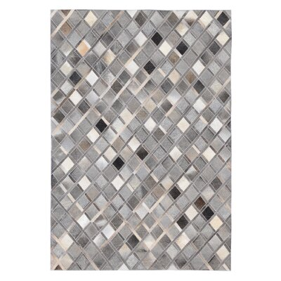 Chappell Diamond Hand Woven Cowhide Gray Area Rug Rug Size: Rectangle 5 x 8