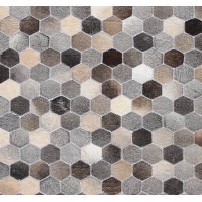 Chardae Beehive Hand Woven Cowhide Gray Area Rug Rug Size: Rectangle 5 x 8