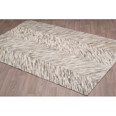 Charlayne Hand Woven Cowhide Gray Area Rug Rug Size: Rectangle 5 x 8