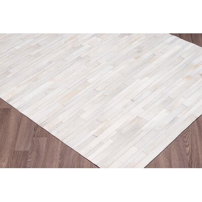 Charleen Stripes Hand Woven Cowhide White Area Rug Rug Size: Rectangle 8 x 10