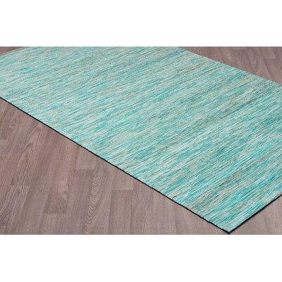 Locking Hand Woven Natural Aqua Area Rug Rug Size: Rectangle 8 x 10