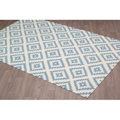 Lombard Kilim Reversible Hand-Woven Wool Ivory/Blue Area Rug Rug Size: Rectangle 8 x 10