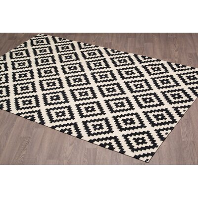 Lombardi Kilim Reversible Hand Woven Wool Black/Ivory Area Rug Rug Size: Rectangle 5 x 8