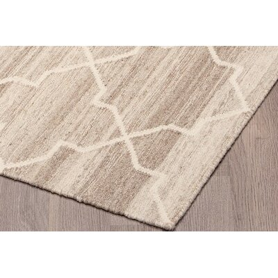 Kuyper Kilim Reversible Hand Woven Wool Ivory/Beige Area Rug Rug Size: Rectangle 5 x 8