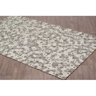 Naughton Swirl Hand Tufted Wool Ivory/Gray Area Rug Rug Size: Rectangle 5 x 8