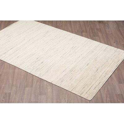 Lauria Solid Texture Hand Woven Wool Ivory Area Rug Rug Size: Rectangle 5 x 8