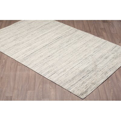 Laux Solid Texture Hand Woven Wool Gray Area Rug Rug Size: Rectangle 5 x 8