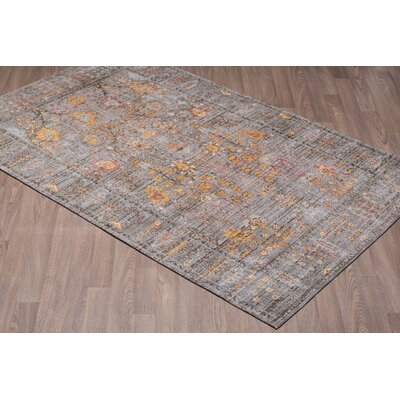 Lizette Chenille Vintage Cotton Gray/Gold Area Rug Rug Size: Rectangle 5 x 8