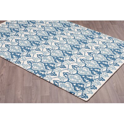 Brochu Hand Tufted Wool Blue/Ivory Area Rug Rug Size: Rectangle 76 x 96