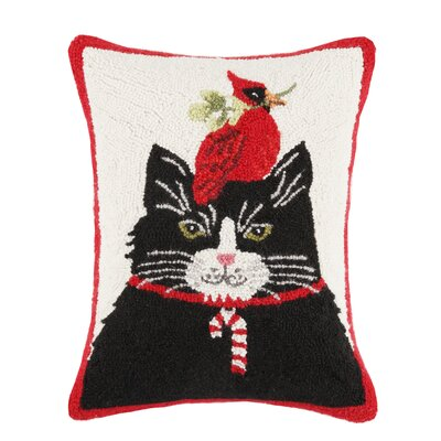 Cat with Cardinal Hook Wool Throw Pillow