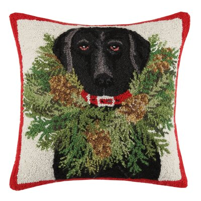 Black Lab with Wreath Hook Wool Throw Pillow