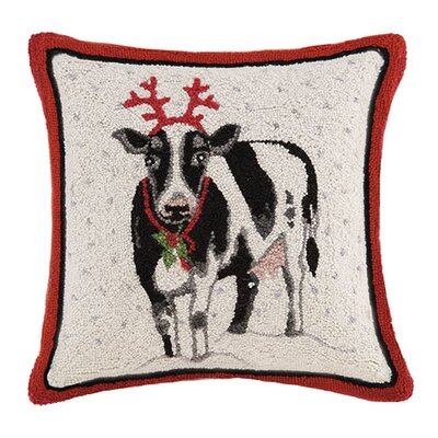Holiday Cow Hook Wool Throw Pillow
