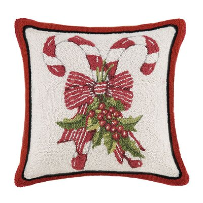 Candy Cane Hook Wool Throw Pillow