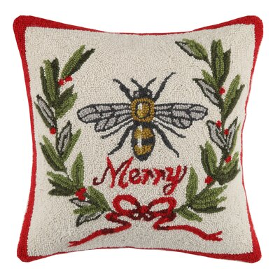 Merry Bee Hook Wool Throw Pillow