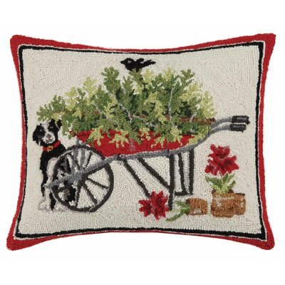 Dog with Wheelbarrow Hook Wool Lumbar Pillow