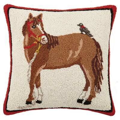Horse with Blackbird 100% Cotton Throw Pillow