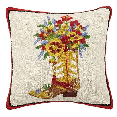 Boots and Flowers 100% Cotton Throw Pillow