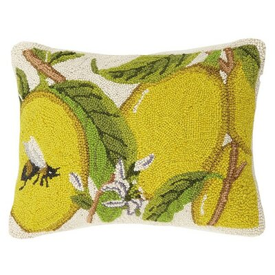 Lemons with Bee 100% Cotton Lumbar Pillow