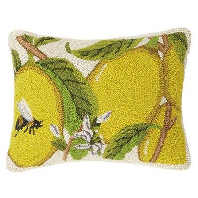 Lemons with Bee 100% Cotton Lumbar Pillow