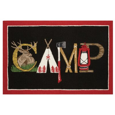 Camp Hook Hand-Woven Black/Red Area Rug