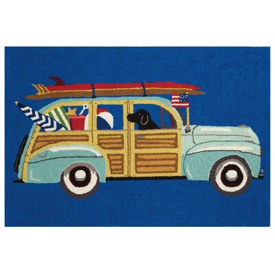 Beach Wagon Lab Hook Hand-Woven Blue Area Rug