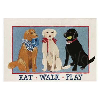 Eat Walk Play Dogs Hook Hand-Woven Blue/Brown Area Rug