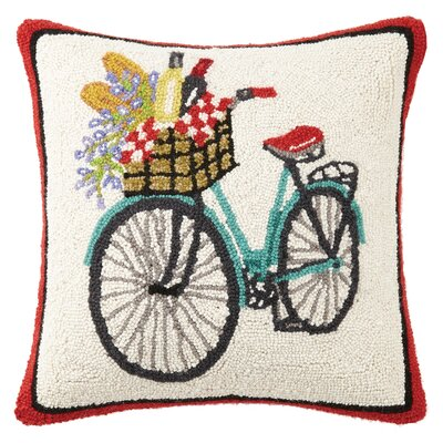 Picnic Bike and Flowers Hook Wool Throw Pillow