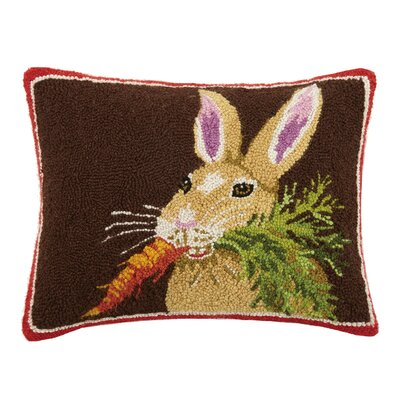 Rabbit with Carrot Hook Wool Lumbar Pillow