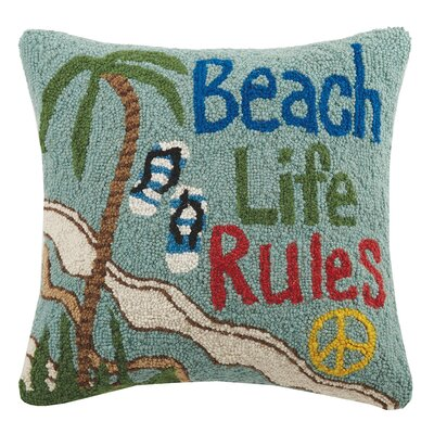 Beach Life Rules Hook Wool Throw Pillow