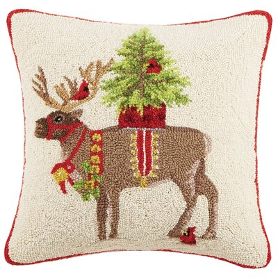 Reindeer Tree Hook Wool Throw Pillow