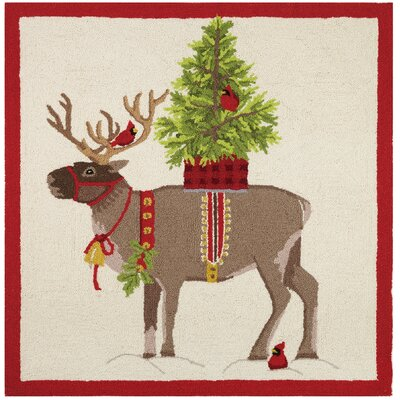 Holiday Reindeer Winter Holiday Beige/Red Area Rug