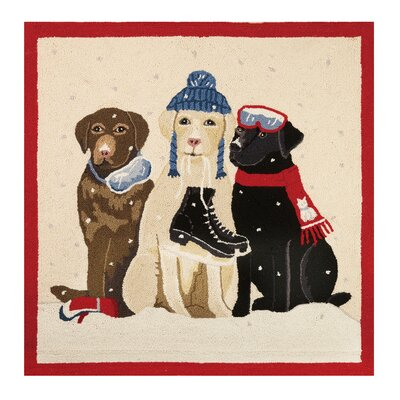 Dogs with Winter Gear Hook Beige/Black Area Rug