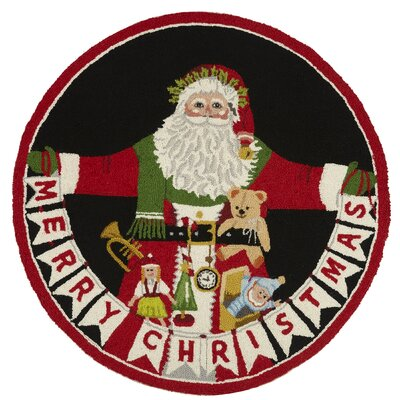 Santa Christmas Red/Black Area Rug