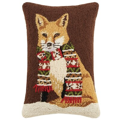 Fox with Scarf Hook Wool Lumbar Pillow
