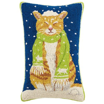 Cat with Scarf Hook Wool Lumbar Pillow