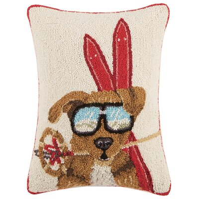 Dog with Ski Gear Hook Wool Lumbar Pillow