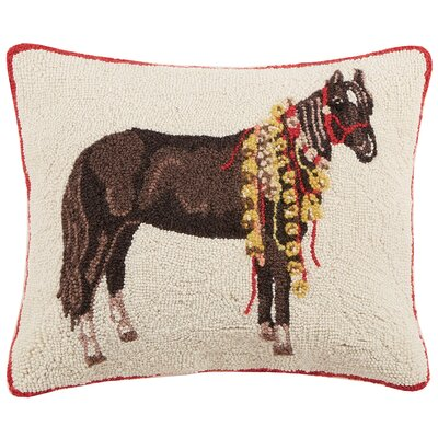 Horse with Bells Hook Wool Lumbar Pillow