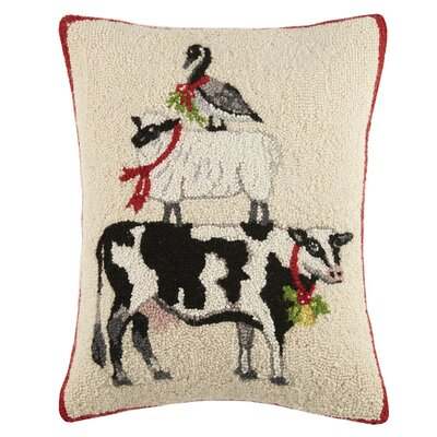 Goose/Sheep/Cow Hook Wool Lumbar Pillow